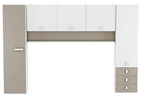 Schrankbett inkl Bettkasten grau / weiß / schwarz B 308 cm Jugendbett Wandbett Schrank Gästebett Jugendzimmer Kinderzimmer Gäste - 2