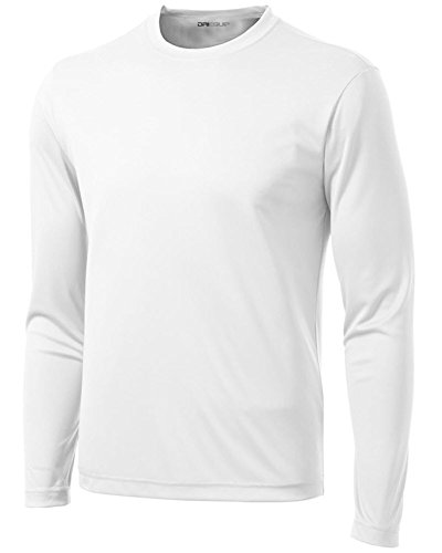 DRI-EQUIP Long Sleeve Moisture Wicking Athletic Shirts Mens, White, Medium