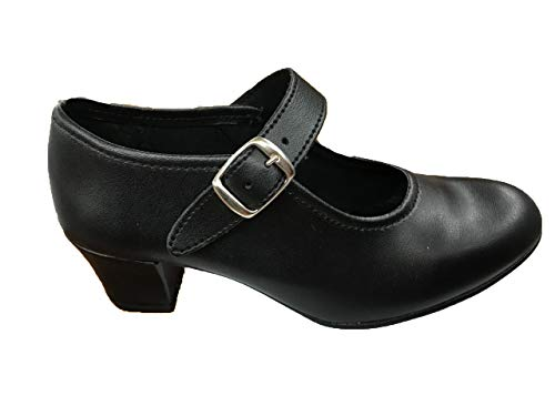 ANGELITOS Zapatos Flamenca Para Niña y Mujer, Mod. 302, Calzado Made In Spain (35, Negro)