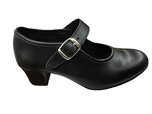 Zapatos Flamenca Para Niña y Mujer, Mod. 302, Calzado Made In Spain (39, Negro)