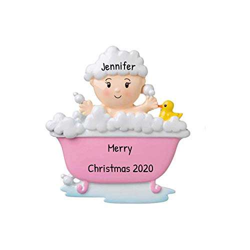 Personalized Baby in a Tub Christmas Tree Ornament 2020 - Bath Lover Baby's Shower New Mom Present Stuffer Bubble Time Toddler Tradition Holiday Nursery Grand-Daughter Girl Pink - Free Customization