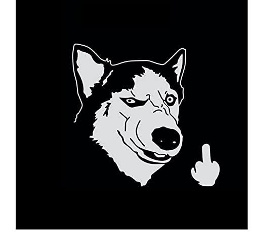 MDGCYDR Pegatinas Coche Perro Divertido Cool Serious Husky Dog Flipping Finger Car Truck SUV Laptop Sticker Calcomanía Accesorios De Coche PVC, 14Cm * 13Cm