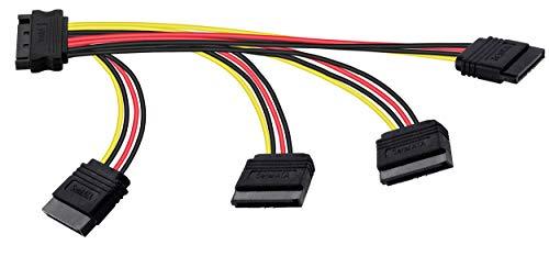Poppstar SATA Stromkabel Adapter (vierfach 14-26,5cm) (Sata Kabel Stromadapter 1x Stecker (m) auf 4X Buchse (w) gerade)