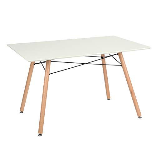 Maddie tavolo da pranzo rettangolare di 2 a 4 persone scandinavo – Bianco laccato e piedi hetre massiccio – L 110 x l 70 cm