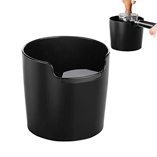Coffee Knock Box, 4.8 Inch Shock-Absorbent Durable Barista Style Espresso Knock Box, Absorbent Durable Barista Style Knock Container for Coffee Ground-Black