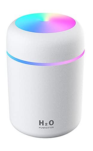 Adsera Humidificador Portátil Mini de 300 ml, silencioso ideal para hogar,coche u oficina,con luz relajante (Blanco)