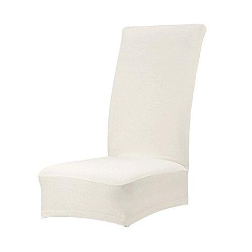 WOVELOT Housse de Chaise de Salle a Manger Couverture Couleur Unie Spandex (Blanc Casse)