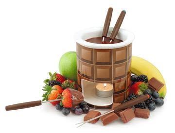 Deko Fondue Set, Schokolade, Schokofondue, Teelichtfondue, Minifondue, Tasse, inkl. Gabeln