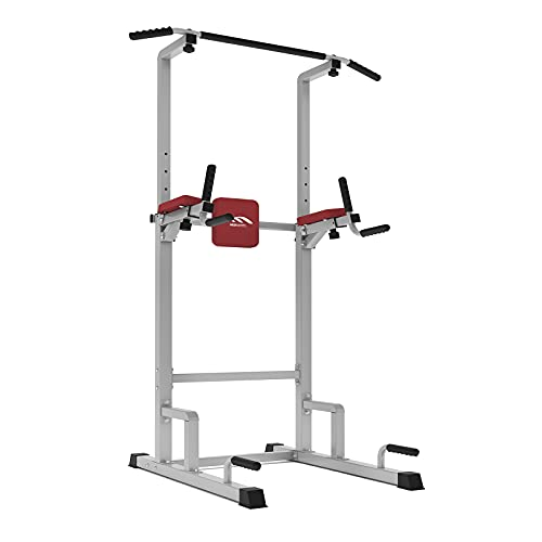 MBH Fitness Power Tower Dip Station Pull Up Bar, Adjustable Multi-Function Strength Training Workout Equipment for Home Gym (Gray)