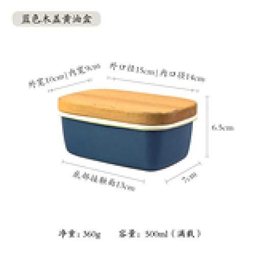 Boterschijf botervloot botervloot van geëmailleerd hout in Japanse stijl koelkast bewaardoos voor ijs bakvorm klein donkerblauw [afdekking van massief hout]