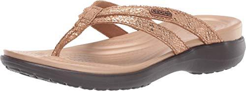 Crocs Capri Strappy Flip W, Zapatos de Playa y Piscina Mujer, Marrón (Bronze/Espresso 80z), 39/40 EU