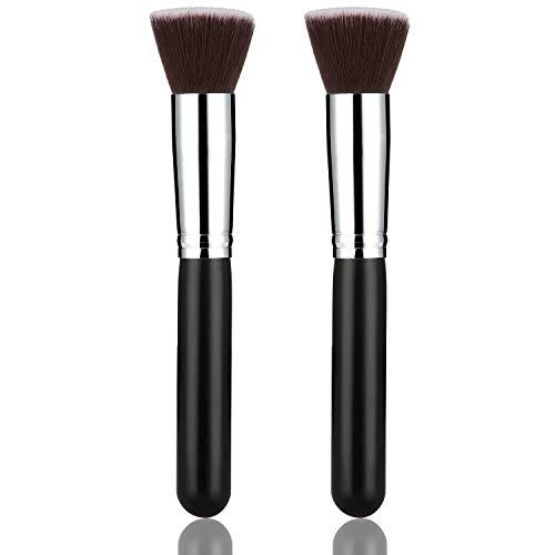 2 Paquets Pinceau de Kabuki Plat de Fondation Brosse de Base de Maquillage du Visage Kabuki à Dessus Plat pour Mélange, Pointillé, Correcteur, Polissage, Flou, Cosmétiques Liquides