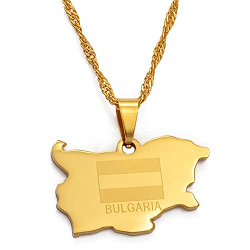 Republik Bulgarien Anhänger & Halskette Gold Farbe Schmuck Geschenke # 024021-60cm_Thin_Chain