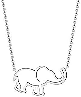 VAttract Silver Necklace for Women, Elephant Pendant Necklace Jewelry Good Luck Adjustable Silver Necklace Gold Necklace for Girls 16 in