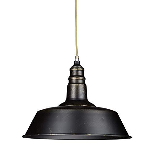 Relaxdays Industrie Deckenlampe / Deckenleuchte schwarz – Fabrik-Lampe Industrielampe im Vintage Retro Look fürs Loft – Messing-Lampe & Holz, Fassung E 27, höhenverstellbar