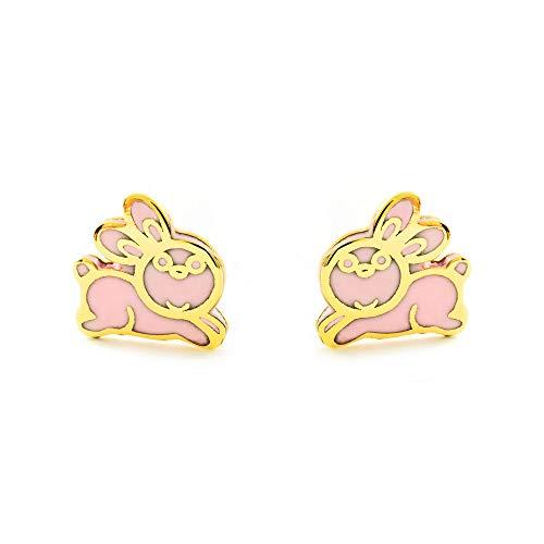 Orecchini per bambini coniglio rosa - oro giallo 9k (375)