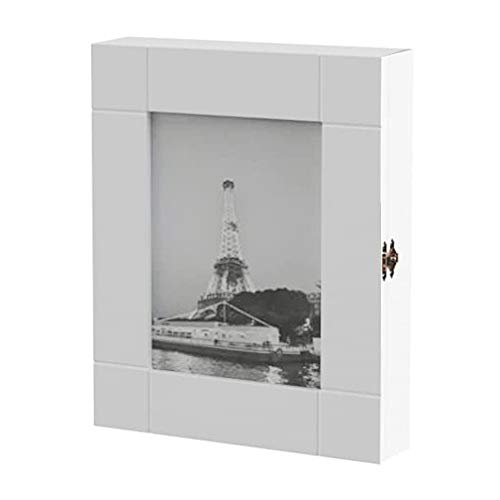 pequeño y compacto HS Lighting – Armario para llaves de madera, 11 ganchos con marco, 24 x 30 x 6 cm, blanco