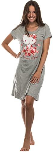 Brandsseller Camiseta de noche para tiempo libre, camiseta larga de manga corta con motivos de Hello Kitty, gris claro, M
