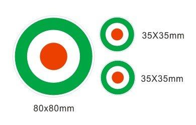 Lote 3 pegatinas vinilo impreso para coche, pared, puerta, nevera, carpeta, etc. Bandera aviacion italia