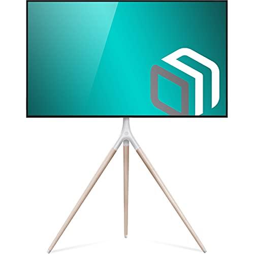 ONKRON Supporto TV da Pavimento Tripod per televisori da 32  - 65  Pollici LCD LED OLED QLED Plasma Girevole a 360° e Regolabile in Altezza - Vesa 400 x 400 mm e Peso max. 35kg - TS1220
