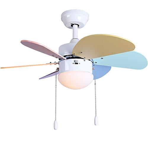 Luz de ventilador de techo, 76 cm, comedor/habitación/sala velocidad del viento ajustable ventilador de techo luz suave (Color : A)