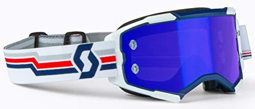 SCOTT Blue/White Fury Goggle NoFog Anti-Fog Electric Blue Chrome Works Lens 272828-1006278