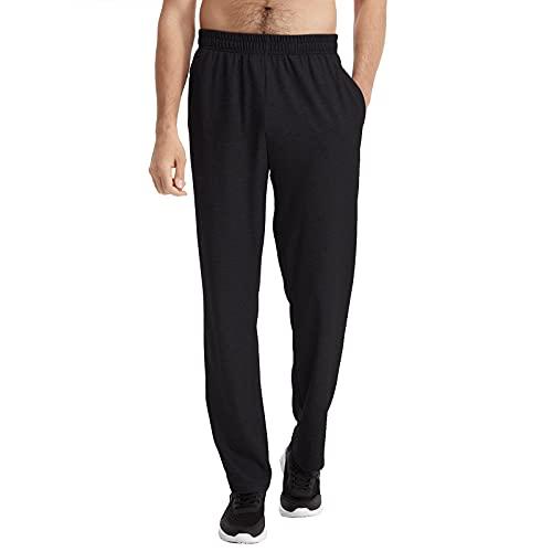 Casei Men's Cotton Yoga Sweatpants Open Bottom Joggers Straight Leg Running Casual Loose Fit Athletic Pants (Black,L