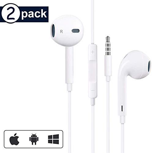 [2 Pack]In Ear Kopfhörer für iPhone, 3,5-mm Kopfhörer mit Mikrofon und Lautstärkeregler Stereo Bass Ohrhörer mit 3,5mm Klinkenstecker Kopfhörer für iPhone, iPad, MP3 /MP4, Android usw.-Weiß