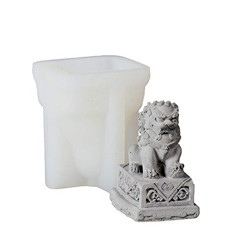 Nicole Statue of Lion Concrete Molds Chinese Style Desk Craft Decorative Tool