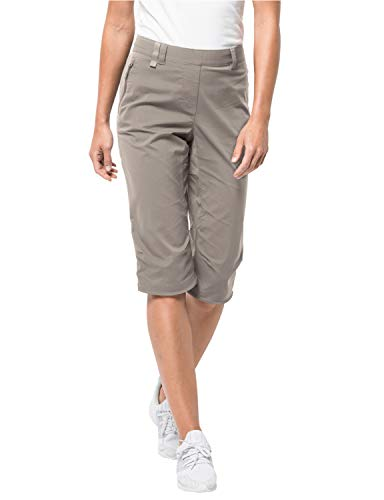 Jack Wolfskin Damen Activate Light 3/4 Pants Elastisch Atmungsaktiv Wasserabweisend Outdoor Softshell Hose, Moon Rock, 46