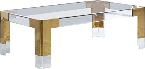 Meridian Furniture Casper Collection Modern   Contemporary Glass Top Coffee Table with Sturdy Stainless Steel and Acrylic Base, 47' W x 29' D x 16.5' H, Gold