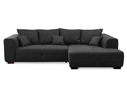 CAVADORE Ecksofa Mavericco inkl. Kissen / XXL-Eckcouch im modernen Design / Longchair rechts / 285 x 69 x 170 / Lederoptik dunkelgrau