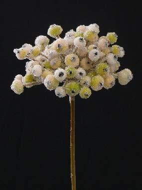 artplants.de Künstlicher Beerenzweig Nuka, Glitzer Frost, Creme-grün, 20cm, Ø 9cm - Deko Beeren - Kunstzweig