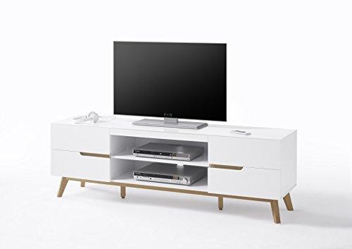 Robas Lund CERVO Sideboard, MDF, Asteiche, ca. 169 x 56 x 40 cm, weiß, asteiche