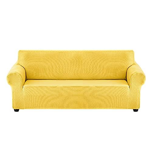 WQA Funda Cubre Sofá de Sillón 1/2/3/4 Asientos, Fundas de Sofá Elástica de Poliéster Jacquard para Sillones, Protector de Muebles para Sala de Estar-Egg Yellow||140-180cm
