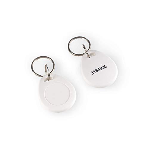 RFID Chip für GOLIATH Außenstationen mit eingearbeiteter Messingöse, für Schlüsselanhänger, 45x30x 3mm, weiß