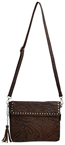 Showman 3D Angel Ranch Dark Brown Floral Embossed Faux Leather Crossbody Handbag Purse
