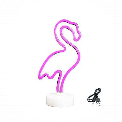 QiaoFei Flamingo Leuchtreklamen Neonlichter mit Halter Basis Dekor Licht, LED Flamingo Zeichen Dekor Licht, Festzelt Zeichen/Wand Dekor für Weihnachten, Geburtstagsfeier, Hochzeitsfeier Dekor(Rosa)