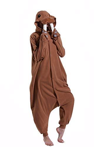 dressfan Animal Walrus Onesie Pajamas Halloween Cosplay Costumes One Piece for Women Men Unisex Adult Kids Boys Girls Brown M