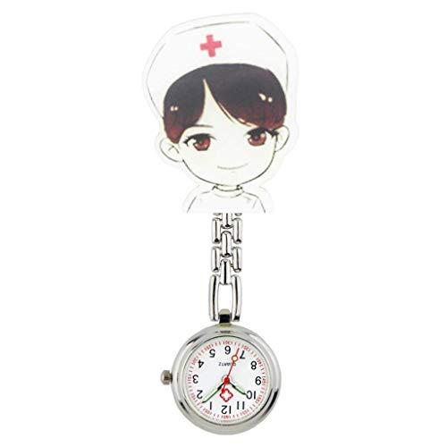 ACZZ Reloj de bolsillo Enfermera Plástico Duro Imagen de dibujos animados Simulación digital Solapa Reloj de cuarzo colgante, Mesa portátil colgante de bolsillo Unisex,E