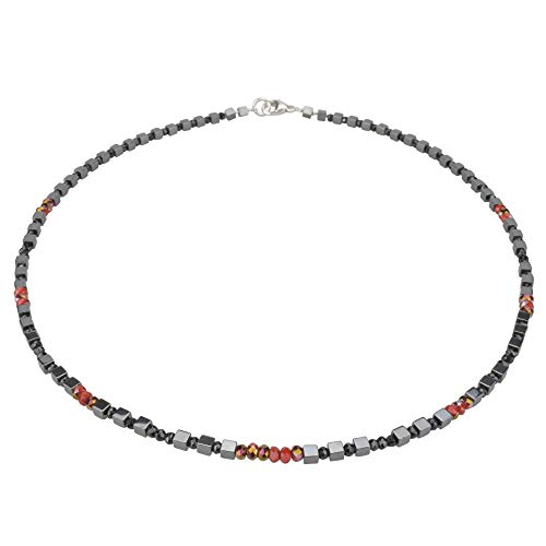 Funk-Collier Edelsteinkette Hämatit, Achat fac, Quarz fac, 925oo Silber Karabiner, ca. 43 cm