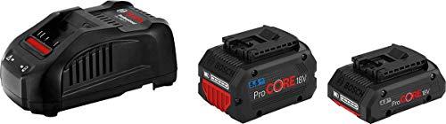 Set de Batteries Professional 18V System Bosch : 1 Batterie ProCORE18V 5.5Ah (18 V, 955 g) + 1 Batterie ProCORE18V 4.0 Ah (18 V, 515 g) + Chargeur Gal 1880 CV (Courant de Charge 8 A) 1600A0214A
