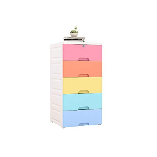 Nafenai Plastic Cabinet 5 Drawers Storage Dresser,Small Closet Drawers Organizer Unit for Clothes,Toys,Bedroom,Playroom,Colorful