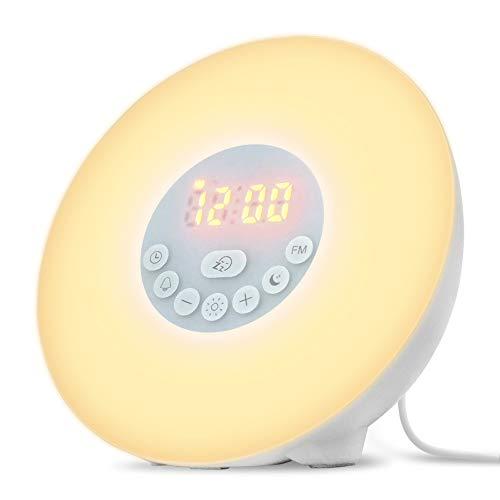 目覚まし時計 置き時計 ベッドサイド ライト ランプ ウェイクアップライト LED 朝日模擬 光 自然音 目覚ましライト アラーム タッチセンサー 7色変換 調光可能 FMラジオ USB給電 おしゃれ 寝室 説明書付き