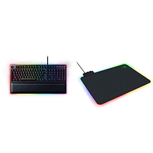 Razer Huntsman Elite Gaming Keyboard & Dial - Classic Black & Firefly Hard V2 RGB Gaming Mouse Pad: Customizable Chroma Lighting - Built-in Cable Management - Balanced Control & Speed
