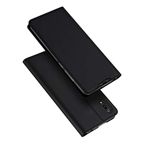 DUX DUCIS Hülle für Huawei Y6 2019, Leder Flip Handyhülle Schutzhülle Tasche Hülle mit [Kartenfach] [Standfunktion] [Magnetverschluss] für Huawei Y6 2019 (Schwarz)