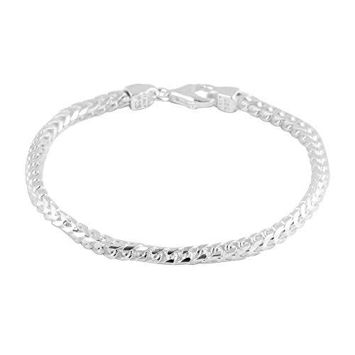Sterling Silver Franco Bracelet Size 7.5, Silver wt 10.16 Gms