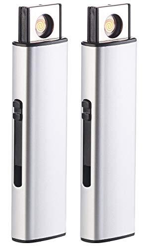 PEARL Elektro Feuerzeug: 2er-Set Elektronisches Akku-USB-Feuerzeug, Glühspirale, windgeschützt (Sturm-Feuerzeug)