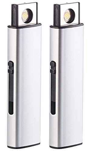 PEARL Sturmfeuerzeug: 2er-Set Elektronisches Akku-USB-Feuerzeug, Glühspirale, windgeschützt (Flammenloses Feuerzeug)