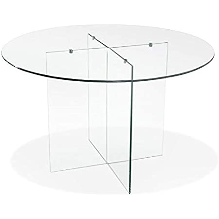Alterego Table de Salle à Manger Ronde en Verre 'Bobby Table Round' Design - Ø 120 cm
